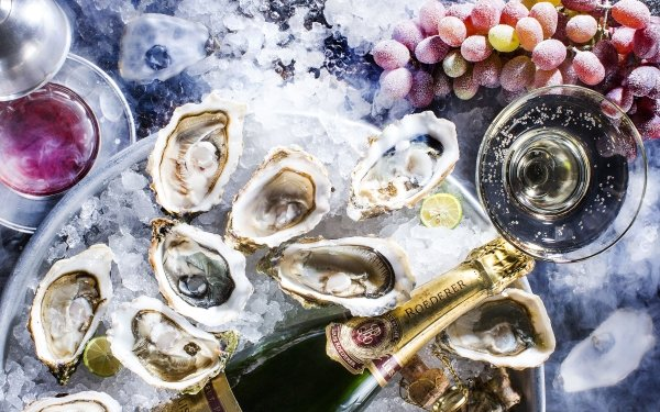 Food Still Life Oyster Champagne Seafood Grapes Mollusc HD Wallpaper | Background Image