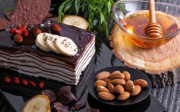 Mat Cake Still Life Pastry Dessert Honey Chocolate Almond HD Wallpaper | Background Image