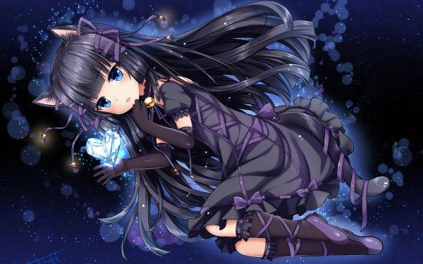 Anime Original Long Hair Black Hair Tail Blue Eyes Glove Bell bow Blush Cat Girl HD Wallpaper | Background Image