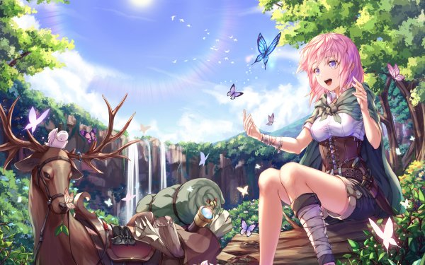 Anime Original Short Hair Pink Hair Deer Bird Butterfly Smile Blue Eyes Cloak Dagger Flower Waterfall HD Wallpaper | Background Image