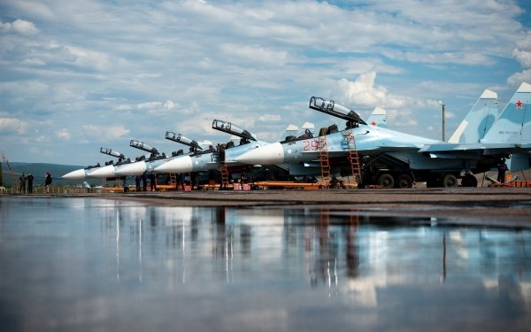 Military Sukhoi Su-35 Jet Fighters Aircraft Jet Fighter Warplane Reflection HD Wallpaper   Background Image