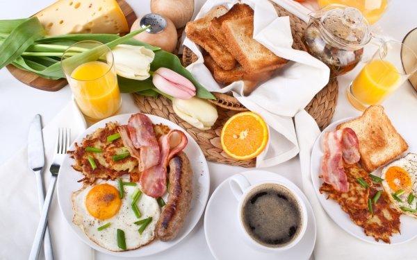 Alimento Desayuno Bodegón Café Huevo Queso Toast Sausage Carne Fondo de pantalla HD | Fondo de Escritorio