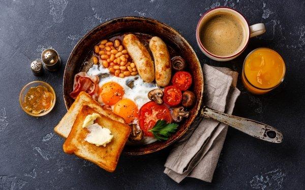 Alimento Desayuno Bodegón Café Cup Huevo Sausage Jugo Toast Fondo de pantalla HD | Fondo de Escritorio