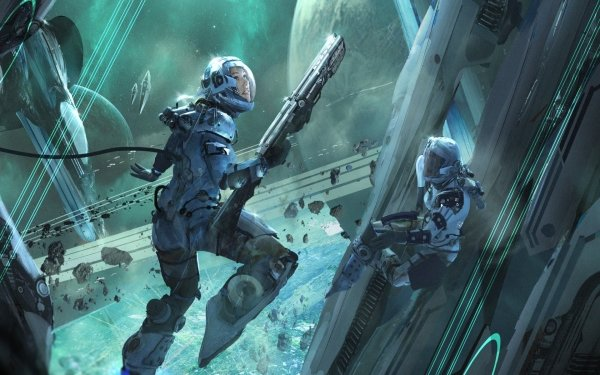 Sci Fi Women Warrior Woman Warrior Space Suit Weapon Futuristic Space HD Wallpaper | Background Image