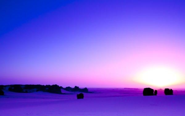 Earth Desert Tassili N'Ajjer Algeria Africa Sunrise Sand Dune Purple Sahara Horizon HD Wallpaper | Background Image