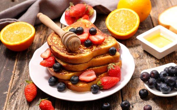 Alimento Desayuno Toast Bodegón Fruta Arándano Fresa Fondo de pantalla HD | Fondo de Escritorio