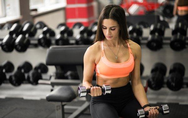 Sports Weightlifting Fitness Model Brunette HD Wallpaper   Background Image