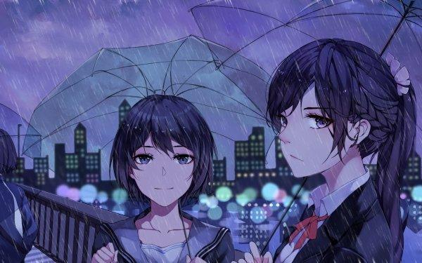 Anime Original Long Hair Brown Hair Umbrella Rain Short Hair Purple Eyes Braid City HD Wallpaper   Background Image