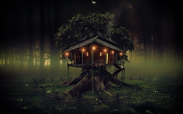 Fantasy House Artistic Tree Treehouse Forest Light HD Wallpaper | Background Image