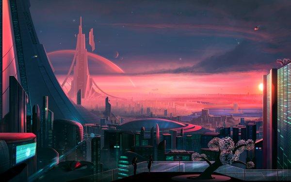 Sci Fi City Cityscape Futuristic Building HD Wallpaper   Background Image