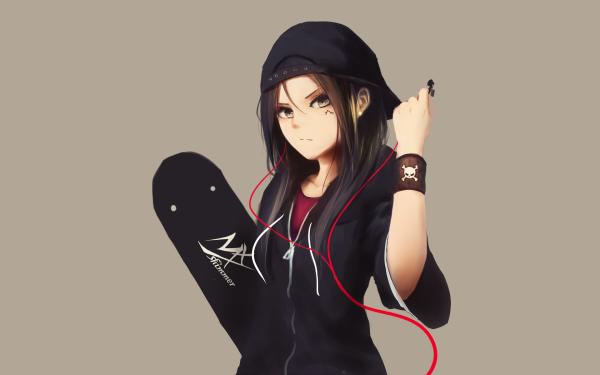 Anime Flicka Black Hair Original Cap Skateboard Earbuds HD Wallpaper | Background Image