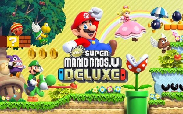 Jeux Vidéo New Super Mario Bros. U Deluxe Mario Luigi Bob-omb Goomba Yoshi Peachette Nabbit Piranha Plant Fond d'écran HD | Arrière-Plan