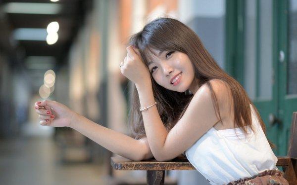 Women Asian Woman Model Girl Smile Depth Of Field Brunette HD Wallpaper | Background Image