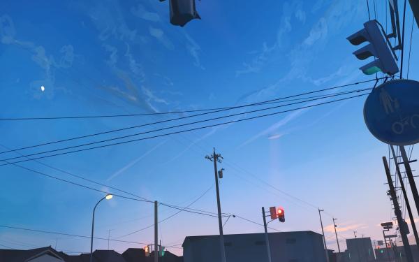 Anime Original Ciudad Calle Street Light Luna Traffic Light Fondo de pantalla HD | Fondo de Escritorio