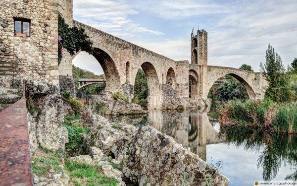 Man Made Bridge Bridges Besalú Catalonia HD Wallpaper | Background Image