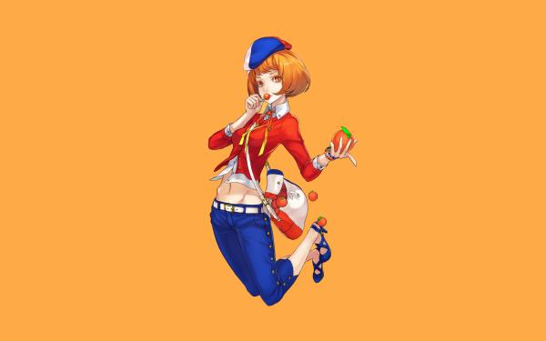 Anime Original Short Hair Orange Eyes Lollipop orange Bag Cap Orange Hair HD Wallpaper   Background Image