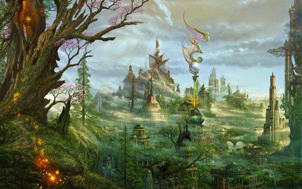 Fantasy City Building Tree HD Wallpaper   Background Image