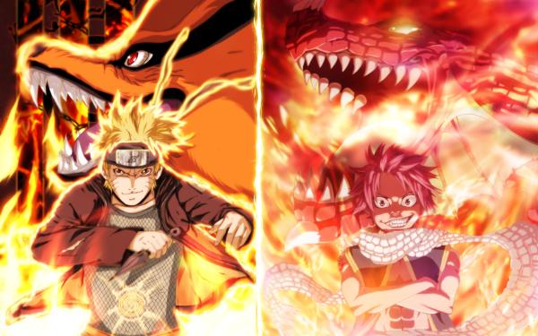 Anime Crossover Naruto Uzumaki Natsu Dragneel Fairy Tail Naruto Igneel Kurama HD Wallpaper | Background Image