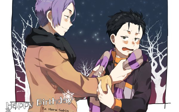 Anime Re:ZERO -Starting Life in Another World- Subaru Natsuki Winter Scarf Julius Juukulius Purple Hair Black Hair HD Wallpaper | Background Image