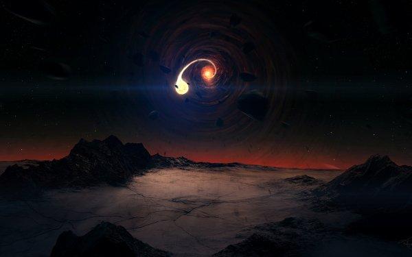 Sciencefiction Zwart Gat Planeet Landschap HD Wallpaper   Achtergrond