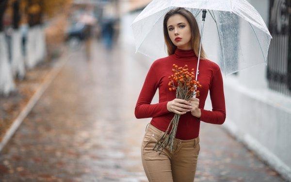 Women Model Models Depth Of Field Umbrella Lipstick Brown Eyes Brunette HD Wallpaper | Background Image