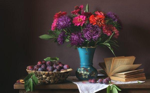 Photography Still Life Flower Book Plum Vase Basket HD Wallpaper   Background Image
