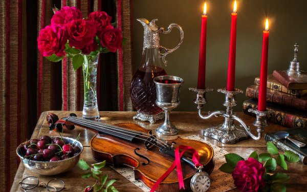 Photography Still Life Violin Candle Cherry Flower Rose Romantic Book Pocket Watch Vase Chalice Magnifying Glass Sheet Music HD Wallpaper | Background Image