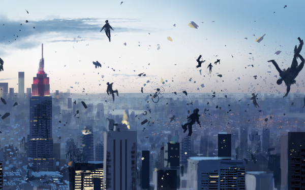 Artistic People Floating Skyscraper City HD Wallpaper | Background Image