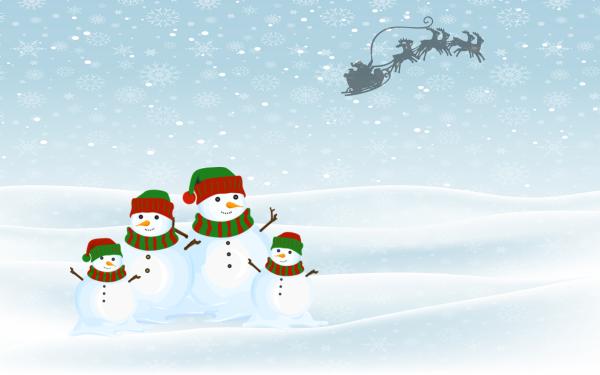 Holiday Christmas Santa Sled Reindeer Snowman Snow HD Wallpaper   Background Image