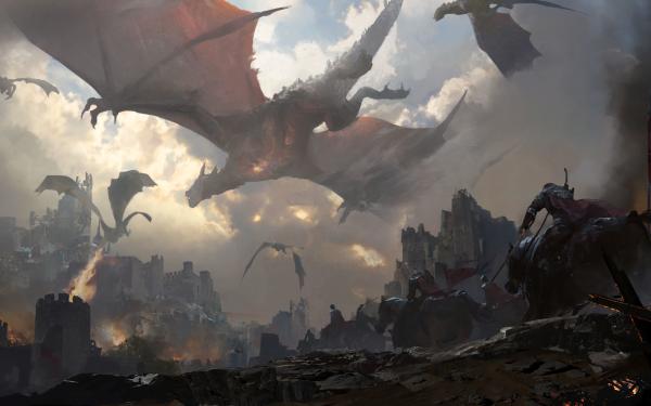 Fantasy Battle Dragon Castle Warrior Horse HD Wallpaper | Background Image