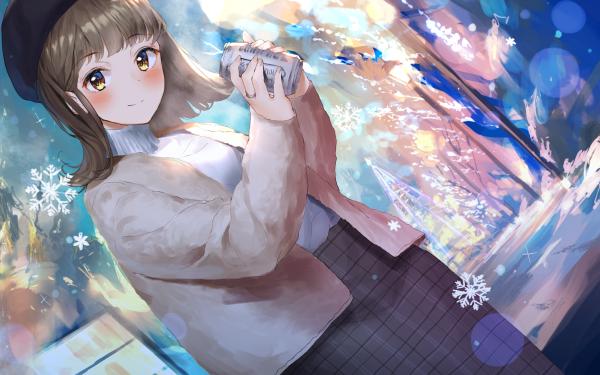 Anime Original Short Hair Brown Hair Smile Can Hat Yellow Eyes Copo de nieve Fondo de pantalla HD | Fondo de Escritorio