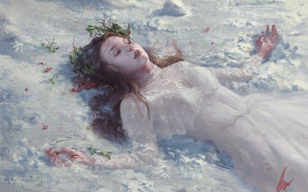 Fantasy Women Lying Down White Dress Redhead HD Wallpaper | Background Image