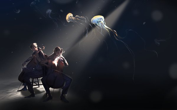 Anime Music Jellyfish Brown Hair Blonde Cello HD Wallpaper   Background Image