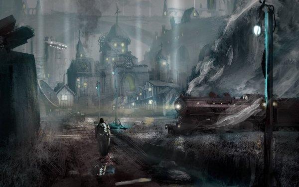 Fantasy City Airplane Train Steampunk HD Wallpaper | Background Image
