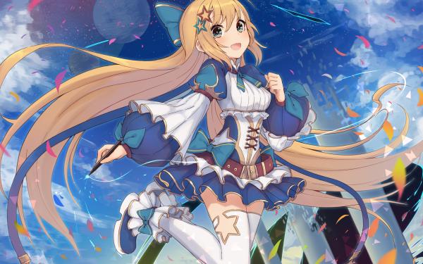 Anime Original Long Hair Blonde bow Blue Eyes Pen HD Wallpaper | Background Image