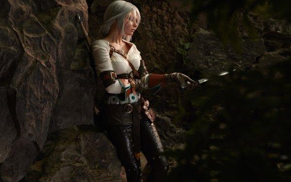 Women Cosplay The Witcher 3: Wild Hunt Ciri Woman Warrior White Hair HD Wallpaper   Background Image