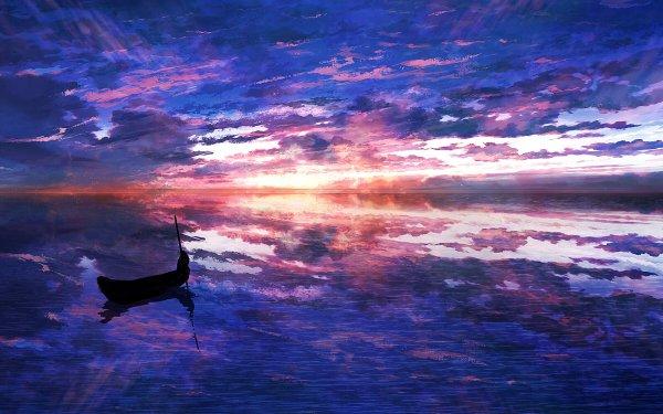 Anime Original Silhouette Boat Sunset HD Wallpaper | Background Image