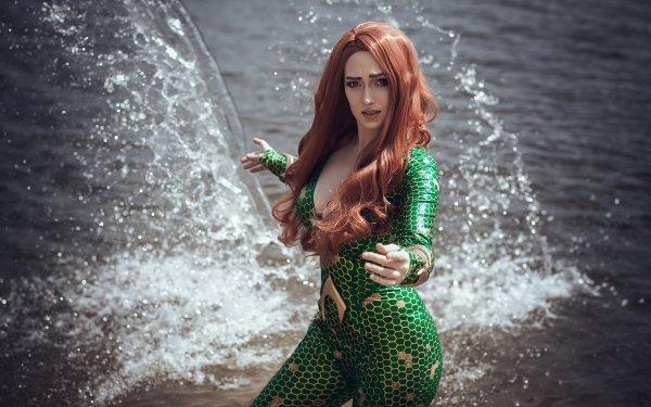 Women Cosplay Mera Redhead Long Hair DC Comics HD Wallpaper | Background Image
