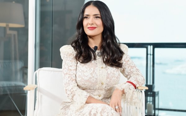 Celebrity Salma Hayek Actresses Mexico Actress Mexican White Dress Lipstick Black Hair HD Wallpaper | Background Image