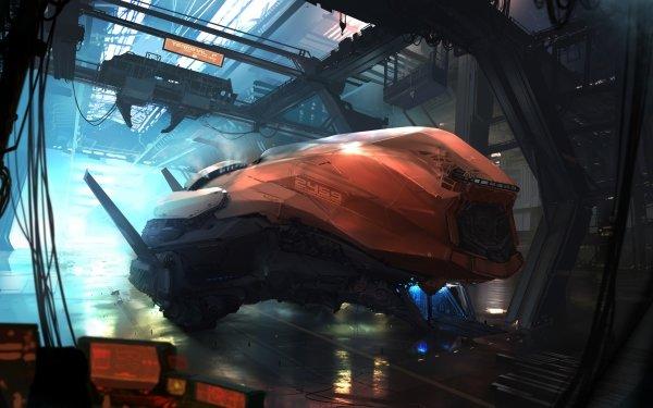 Sci Fi Spaceship Hangar HD Wallpaper | Background Image