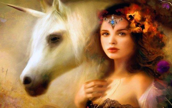 Fantasy Women Unicorn HD Wallpaper | Background Image