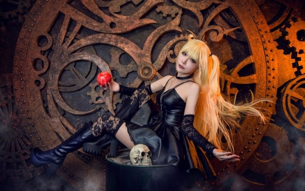 Femmes Cosplay Top Model Blonde Long Hair Black Dress Death Note Crâne Misa Amane Fond d'écran HD | Image