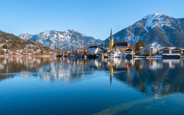 Man Made Village Lake Tegernsee Bavaria Germany HD Wallpaper | Background Image