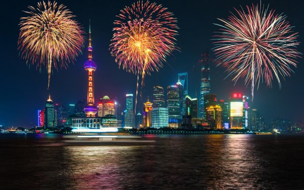 Photography Fireworks City Shanghai HD Wallpaper | Background Image