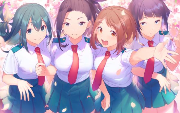 Anime My Hero Academia Ochaco Uraraka Tsuyu Asui Momo Yaoyorozu Kyōka Jirō HD Wallpaper | Background Image