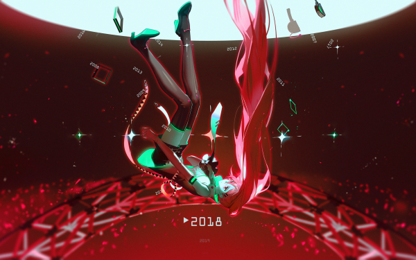 Anime Vocaloid Hatsune Miku Red Hair Red Dress HD Wallpaper   Background Image